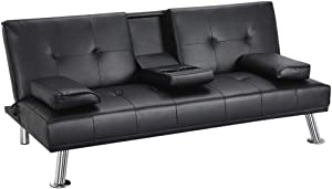 Yaheetech Futon Sofa Bed, Modern Faux Leather Couch, Convertible Sofa Bed with Armrest, Fold Up and Down Recliner Couch with Cup Holders - Black