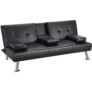 Amazon.com: Yaheetech Futon Sofa Bed, Convertible Sofa Couch ...
