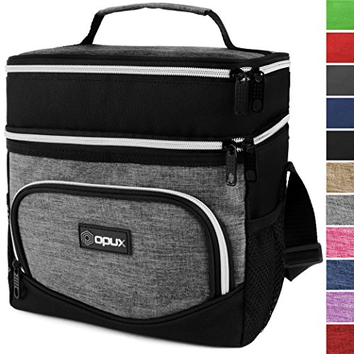 OPUX Premium Thermal Insulated Dual Compartment Lunch Bag for Men, Women | Double Deck Reusable Lunch Tote with Shoulder Strap, Soft Leakproof Liner | Medium Lunch Box for Work, Office (Leak Proof Peva Lining)