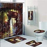 Bathroom Fashion 5 Piece Set shower curtain 3d print,Industrial Decor,Watercolor Artwork Futuristic Forest Old Machine in Deep Woods Waterfall Decorative,Multicolor,Bath Mat,Bathroom Carpet Rug,Non-Sl