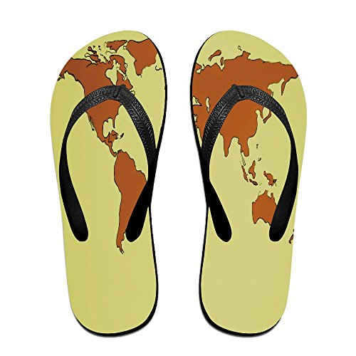 FPDragon Orange Word Map Unisex Soft Flip-flops Beach Sandals Slippers Classical Thong Sandals znfjoBnj