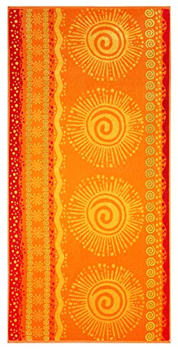 Cotton Craft - 2-Pack XL Jacquard Woven Velour Beach Towel - 39x68 inches - 100% Cotton - Sunshine Orange Yellow (Beach Towels Xl)