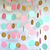 Hangnuo 16.4ft Colorful Dot Paper Garland For Wedding Birthday Anniversary Party Christmas Girls Background Decoration Light Blue+Pink+Gold Large