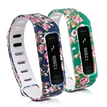 kwmobile 2in1 set: 2x Sport spare bracelet for Fitbit One in rose bundle light pink dark blue, rose bundle light pink green, Inner dimensions: approx. 12,5 - 20,4 cm