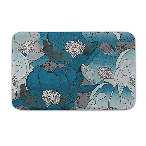DKISEE Indoor Outdoor Entrance Rug Floor Mat Bathmat Floral Pattern Seryi Sinii Doormat, 15.7
