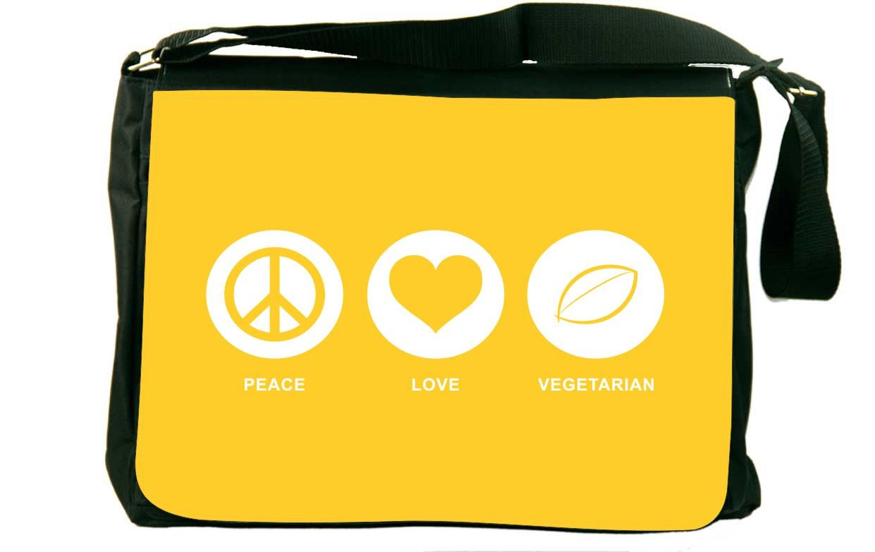 Rikki Knight Peace Love Vegetarian Yellow Color Messenger Bag School Bag