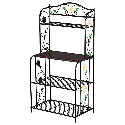 Yaheetech Indoor Outdoor 4-Tier Shelving Unit Bakers Racks Storage Organizer Metal Corner Planter Stand Storage Shelves Flower 49'' Black Finish (Four Tier Shelving)