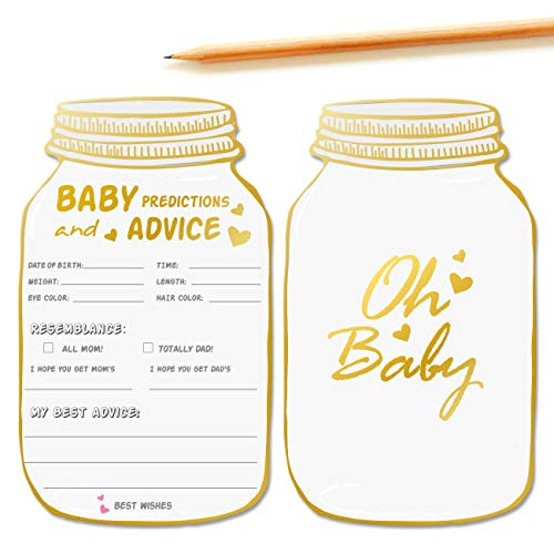 50 Mason Jar Advice and Prediction Cards for Baby Shower Game, Baby Shower Prediction and Advice Cards,Gender Neutral Boy or Girl,Fun Baby Shower Games Favors,New Parent Message Advice Book - 4x7inch -