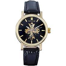 GuTe Elegant Golden Black Ladies Automatic Mechanical Watch 33mm Dial Luminous Hollow out