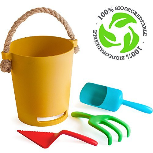 Toys Beach Plastic (Eco Beach Toy Set for Toddlers & Kids   Biodegradable Natural Bamboo Fiber Sand Toys   Includes Carry Tote Bag with Mesh Base   Non Plastic Beach Toys for Boys & Girls of Any Age)