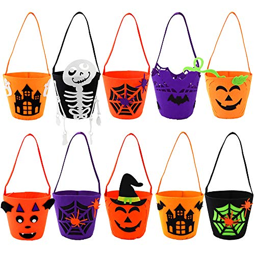 EOOUT 10Pack Halloween Felt Trick or Treat Bags Portable Candy Bag Gift Bag for Kids Girls Boys