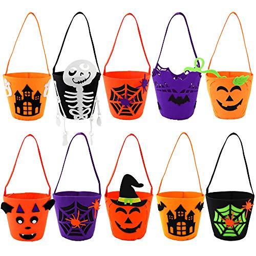 EOOUT 10Pack Halloween Felt Trick or Treat Bags