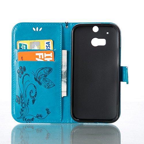 Funda HTC One M8 OuDu Carcasa de Billetera Funda PU Cuero Carcasa Suave Protectora con Correas de Teléfono Funda Arbol Flip Wallet Case Cover Bumper Carcasa Flexible Ligero Ultra Delgado Caja Anti Ras Azul
