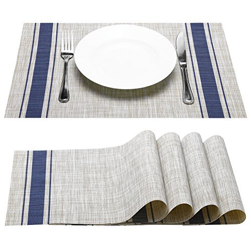 Placemat, Fashion European Style PVC Placemat Non-slip Insulation Placemat Washable Table Mats Set of 4(Blue)