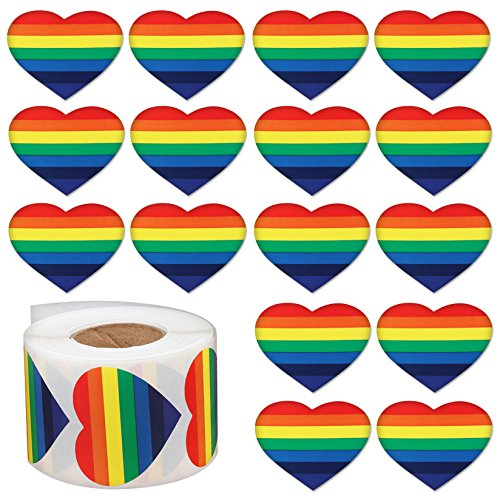 1000pcs Love Rainbow Ribbon Stickers, Gay Pride 7 Colors Stripes Heart Shaped Roll Tape