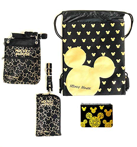 Emerald Trip to Disney Land Mickey Mouse Fun Pack Bundle - 4 Items Set (Star Gold Head Autograhp Book)