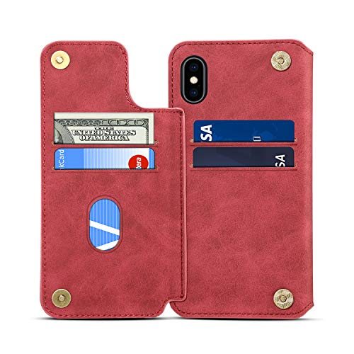 SUTENI iPhone Xs Wallet Case, iPhone Xs Credit Card Slot Holder Case, Leather Magnetic Closure [Stand Feature] Wallet Flip Case for iPhone Xs/iPhone X (2017) with Gift Box Package (Red)