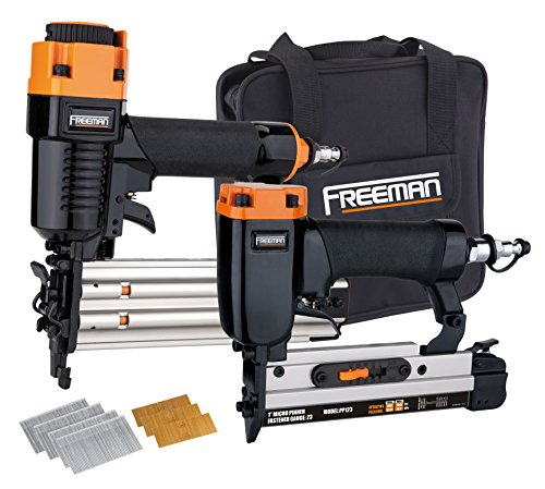 Kit Pinner (Freeman PPPBRCK 2-Piece Brad/Pinner Kit with Nails and Canvas Storage Bag Ergonomic & Lightweight Pneumatic Brad & Pin Gun Set for Finish & Trim)