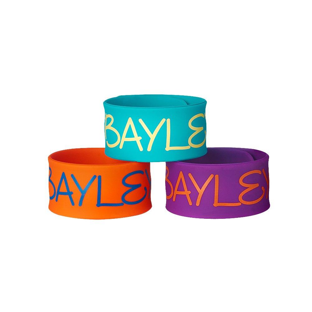 WWE Bayley 3-Piece Slap Bracelet Set Blue//Orange//Purple