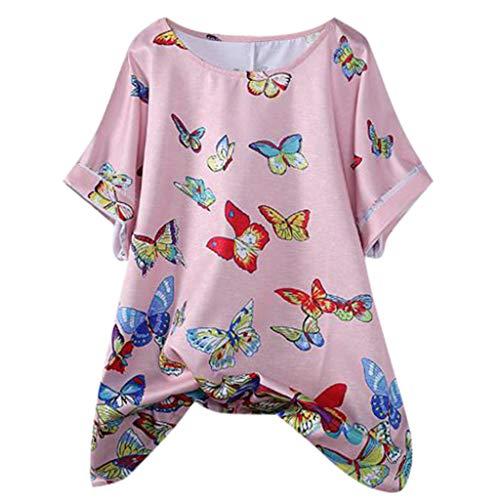 (Creazrise Women's Casual Plus Size Cotton Linen Printed Loose Button Tunic Shirt Blouse Tops Pink)