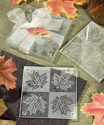 Fall Themed Coaster Favors (Leaf Coaster Set Wedding Favors)