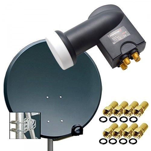 PremiumX Digital SAT Anlage 80 cm Stahl Schüssel Spiegel Antenne Anthrazit + PremiumX Quad LNB PXQS-SE 0,1dB für 4 Teilnehmer + 8 F-Stecker 7mm vergoldet