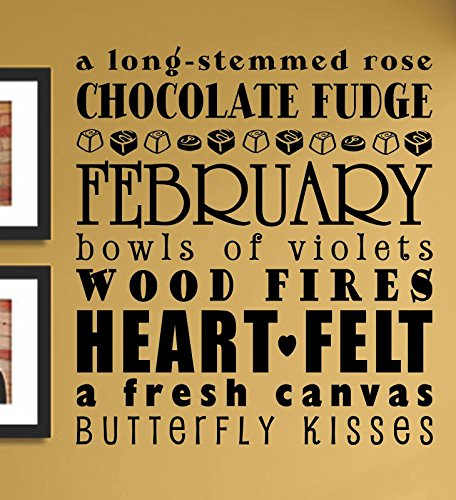February a long stemmed rose chocolate fudge... Vinyl Wall Art Decal Sticker