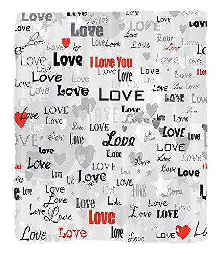 Chaoran 1 Fleece Blanket on Amazon Super Silky Soft All Season Super Plush Love Decor Collection Celebrating Happy Times Anniversary Birthday Greeting Love Themed Artwork Image Fabric et Red Gray