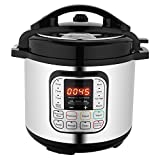 Utheing Electric Pressure Cooker Stainless Steel, 6 Qt Intelligent Programmable 7-in-1 Pressure Rice Cooker, Slow Cooker, Steamer, Sauté, Yogurt Maker and Warmer