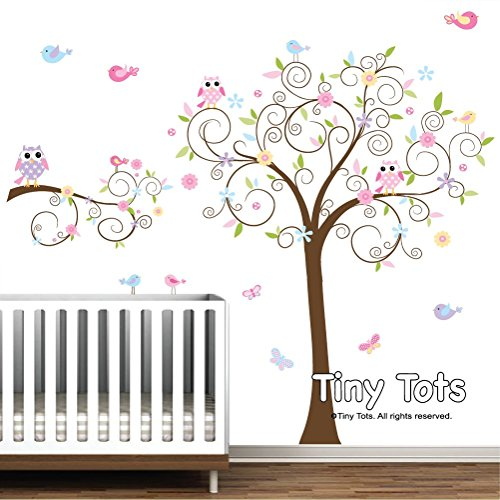 d257239b02 Nursery Wall Decals-Swirl Tree Decal with Branch Decal-Owls, Birds,  Butterflies-Wall Stickers-Baby Wall Decor-Nursery Wall Art-Wall Decor-Children's  Wall ...