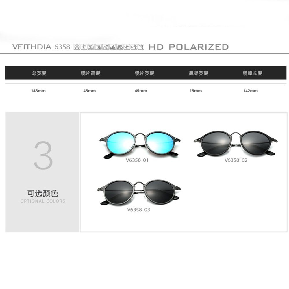 9b4589b76c6 VEITHDIA PolarizedSunglasses Round Male Eyewear for Men Women 6358 (Black  gray