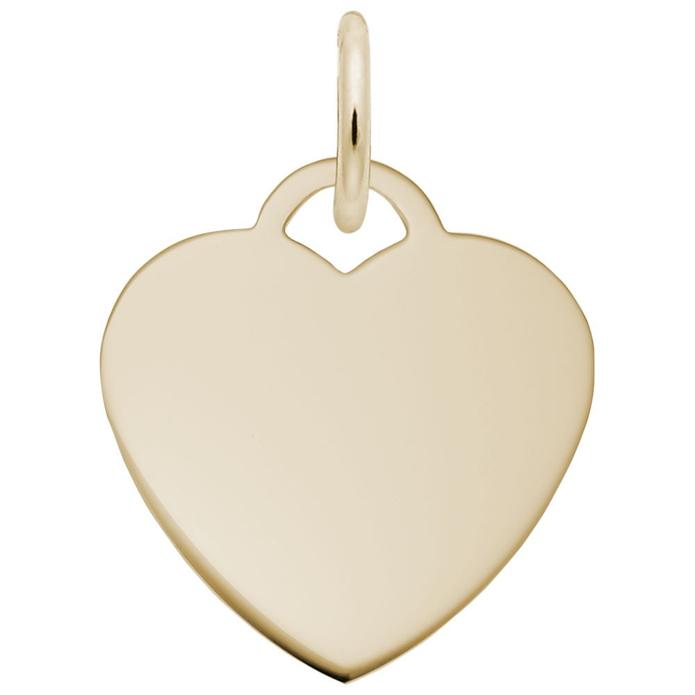 Rembrandt Charms, Classic Small Heart.9mm Thick, 14k Yellow Gold, Engravable