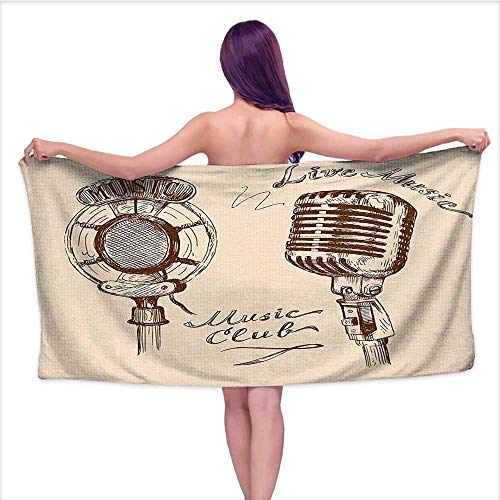 (Leigh home 3D Printing Beach Towels, Old Fashioned Doodles with Waves and Vintage Microphone Print Retro Style Boho,for Both Adults and Kids W 20