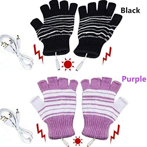 Kbinter USB 2.0 Powered Stripes Heating Pattern Knitting Wool Cute Heated Gloves Fingerless Hands Warmer Mittens Laptop Computer Warm Gloves for Women Men Girls Boys 2 Pack (Purple+Black) / Kbinter USB 2.0 Powered Stripes Heating P...