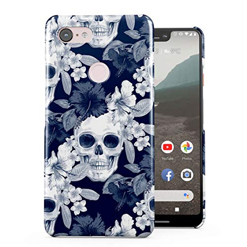 Tropical Floral Pirate Skulls Pattern Indie Hype Hipster Rad Tumblr Plastic Phone Snap On Back Case Cover Shell Compatible with Google Pixel 3 XL -