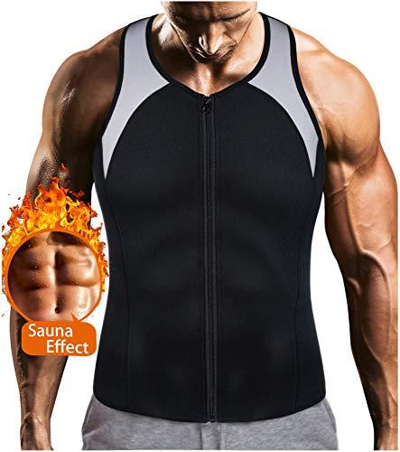 (LODAY Mens Sauna Waist Trainer Corset Vest with Zipper for Weight Loss Hot Sweat Neoprene Body Shaper Gym Workout Tank Top)