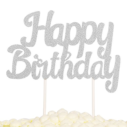 PALASASA Single Sided Glitter Happy Birthday Cake Toppers Decorations Tool Party Supplies (Silver)