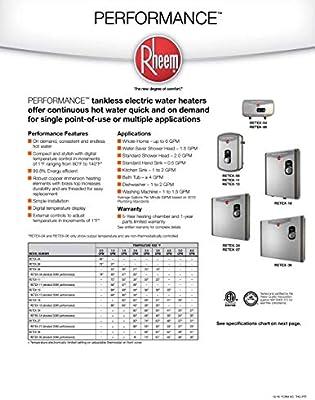 Rheem 240V 2 Heating Chambers RTEX-18 Residential Tankless Water Heater, on