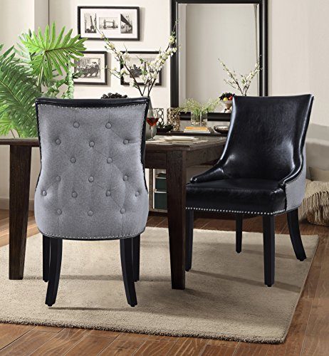 Chic Home Brando PU Leather, Linen Modern Contemporary Button Tufted Swoop Arm with Silver Nailhead Trim Tapered Solid Birch Legs Dining Chair, Black(Set Of 2)