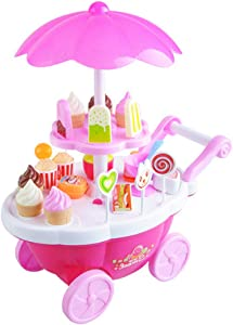 30 PCS Shopping Cart with Pretend Food Candy Ice Cream Playset Educational Learning Toy for Kids Boys Girls
