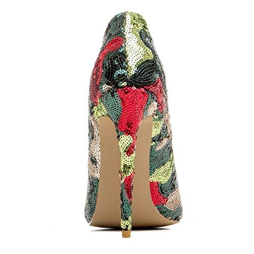 Paillettes de NVXIE Doigt Femmes Robe Pompes Pied Rouge EUR37UK6 Talons Stylet RED Intelligent Fermé Haute Sexy 35 Chaussures Pointu 43 Taille Travail rAPx0wqAC