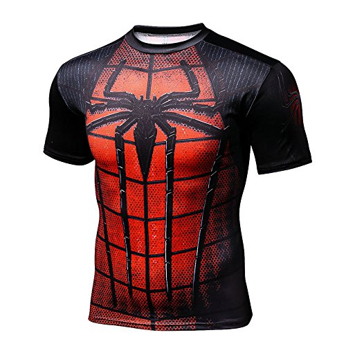 sanling Printed T-shirts Men Compression Shirt Short Sleeve Cosplay Super elastic quick drying Costume (Spiderman) (T Shirt Spiderman)