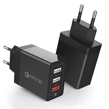 H&T Cargador de Pared USB de Carga rápida 3.0, 3 Puertos de ...