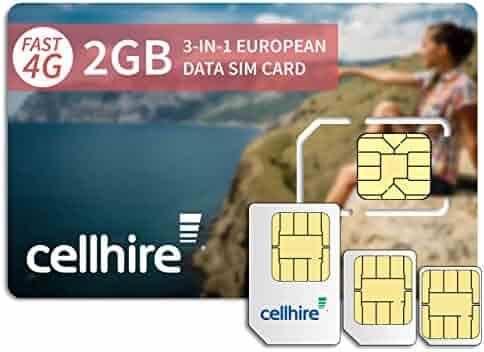 Cellhire Prepaid 4G Europe Data SIM Card - Europe 2GB Bundle - 33 countries - 3-in-1 SIM