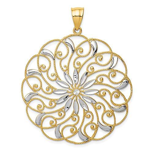 Beautiful Yellow gold 14K 14k& Rhodium Meridian Swirl Pendant