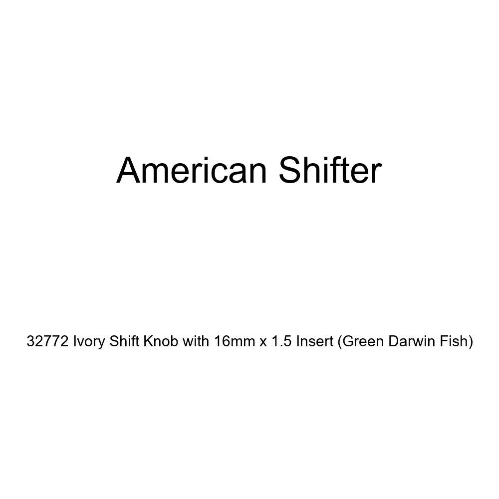 American Shifter 32772 Ivory Shift Knob with 16mm x 1.5 Insert Green Darwin Fish