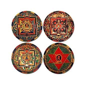 Juego de 4 posavasos redondos de corcho con mandala budista Posavasos con diseño de Buddha tibetano: Amazon.es: Hogar