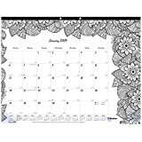 Blueline 2019 DoodlePlan Monthly Coloring Desk Pad, Botanica designs, January to December, 22 x 17 inches (C2917311-19)