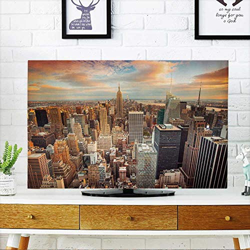 PRUNUS Cover for Wall Mount tv Sunset Aerial View of New York City Looking Over Midtown Manhattan Towards Downtown. Cover Mount tv W36 x H60 INCH/TV 65