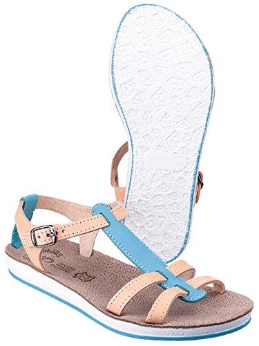 T Blue Flemnos Fantasy Leather Comfortable Sandal Ladies Natural Buckle Bar wFOA4q